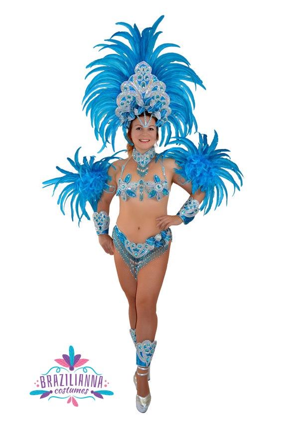 Samba Brasileña Turquesa Plata Río Carnaval Samba Baile Etsy