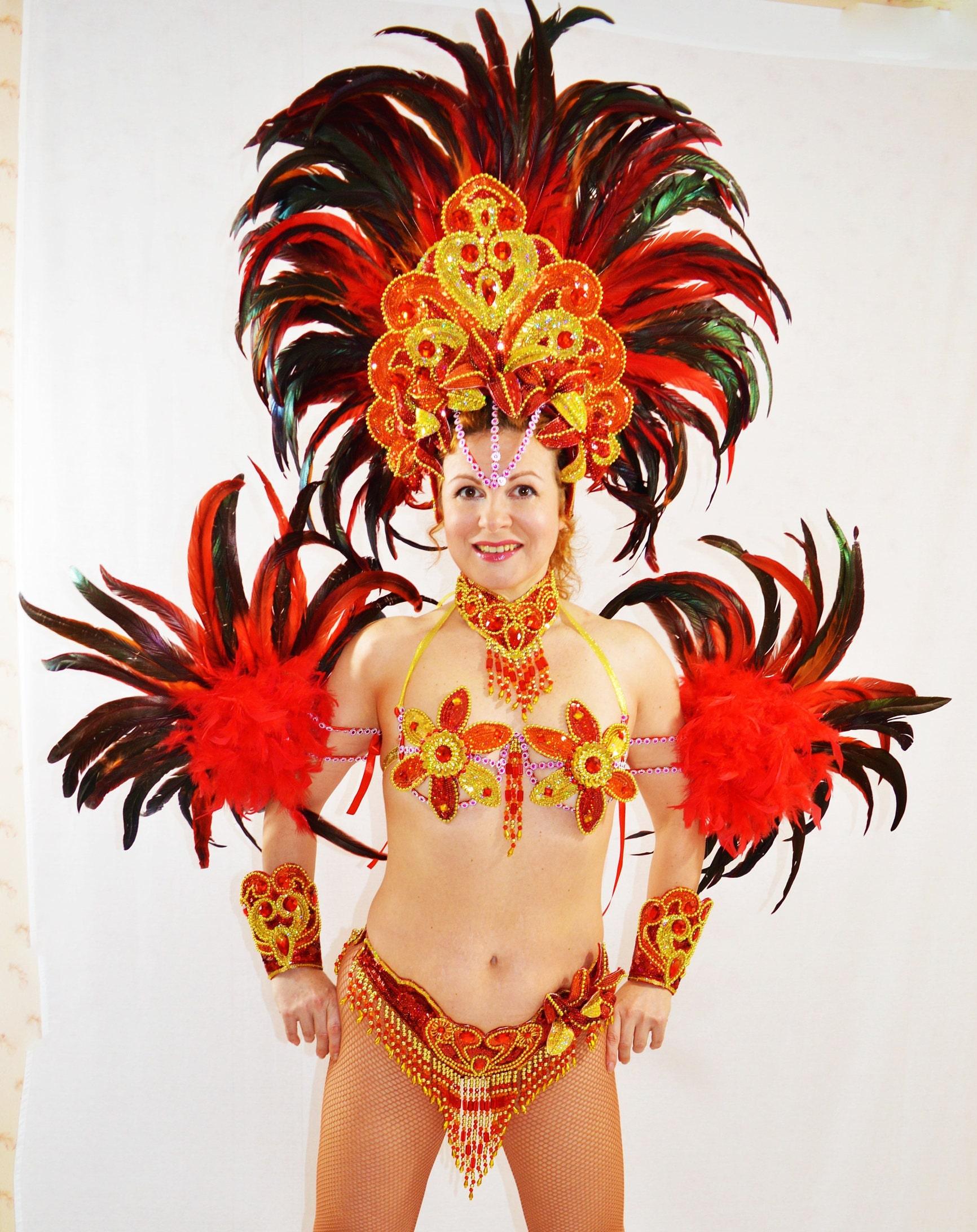 Samba Brazilian Red/Orange Rio carnival SAMBA dance COSTUME
