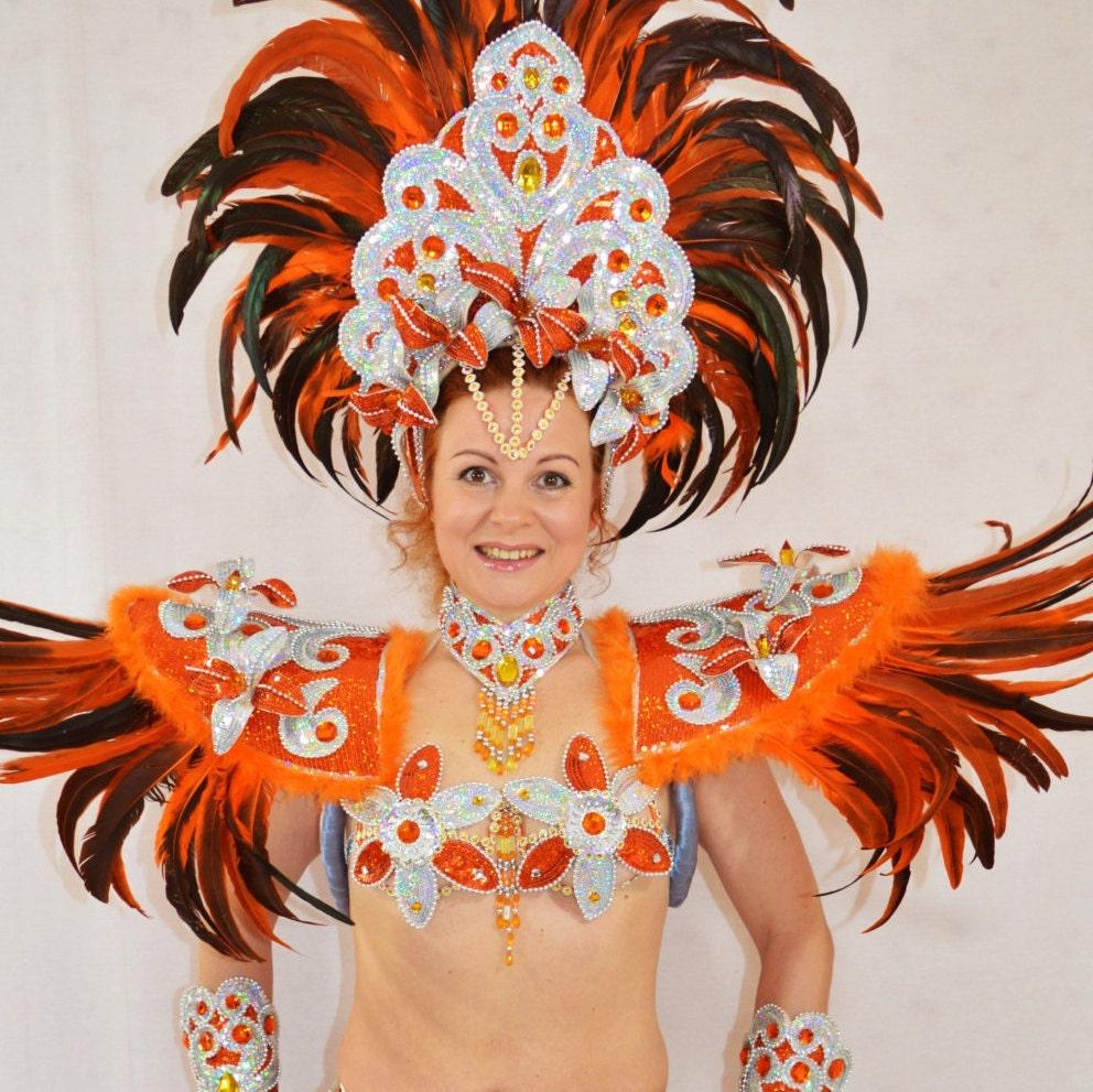 Samba Brazilian Orangesilver Rio Carnival Samba Dance -9072