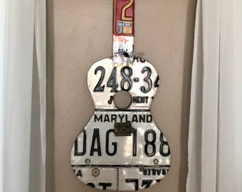 Maryland license plate acoustic guitar art with MD favorites Natty Boh and Old Bay accents; MD art; license plate collectors art; guitarist