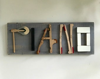 PIANO musician pianist typography collage reusing piano parts, keys, hammers and reclaimed lumber; pianist, chorus music teacher gift