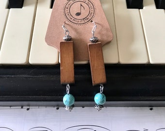 Earrings made with wood from piano hammers of a 1911 Grand embellished with your choice of semi precious stone beads; great gift for pianist
