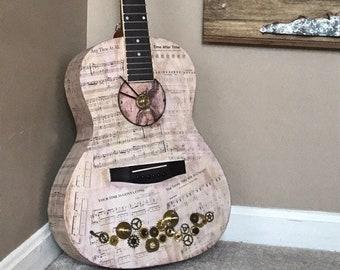 Time steampunk full size acoustic guitar clock art piece; guitar wall art