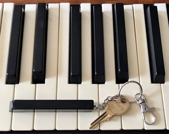 Keychain made from antique black piano key; key made from ebony wood; great gift for pianist, music, chorus or band teacher FREE SHIPPING