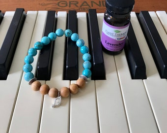 Semi precious stone essential oil diffuser bracelet embellished with a music note charm for music lovers, music teachers, & musicians