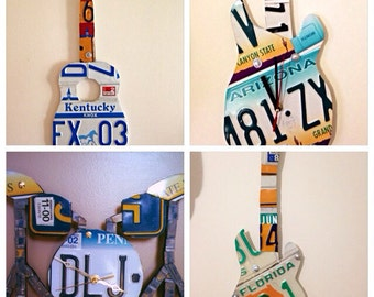 License plate guitar or drum set art made to order