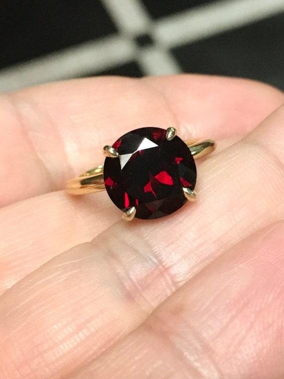 Garnet Single Stone Ring Large Garnet Solitaire 14K Garnet Engagement Ring 14K Red Natural Gemstone Proposal Ring January Birthstone 4 Carat