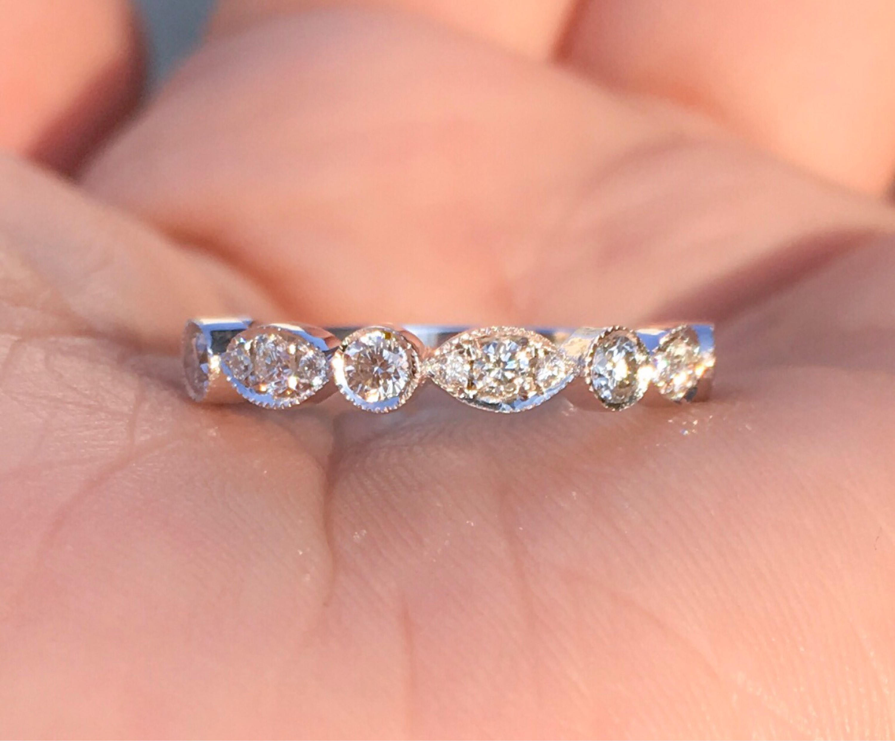 Marquise Dot Diamond Band .40 carat Diamond Art Deco Milgrain ...