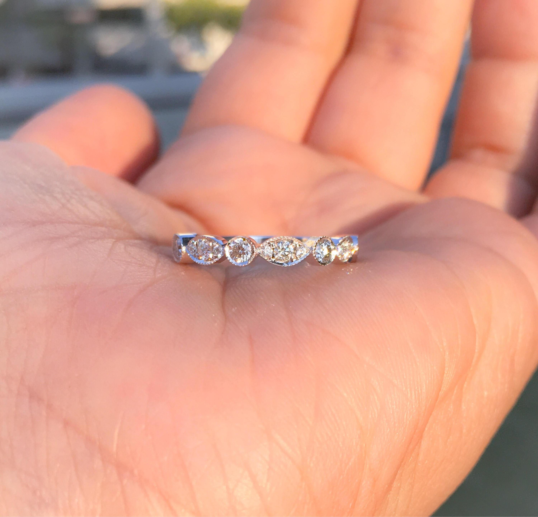 Marquise Dot Diamond Band .40 carat Diamond Art Deco Milgrain ...