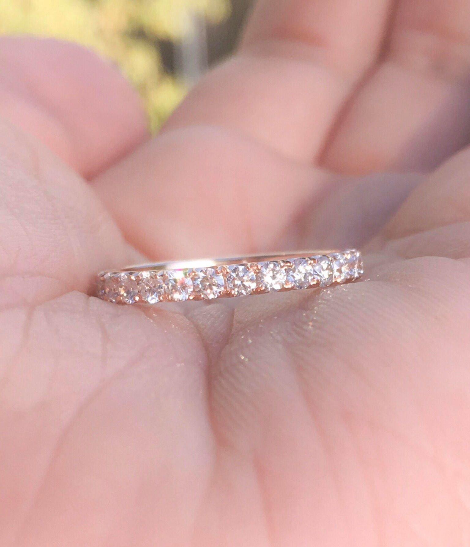 Diamond Eternity Band 1 Carat Diamond Matching Wedding Ring Rose ...