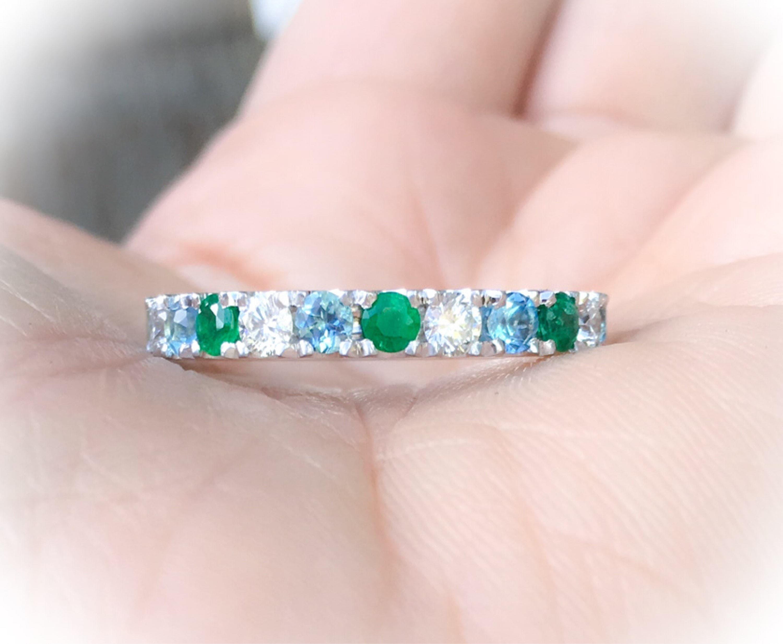 Thick Eternity Band Diamond Emerald Blue Topaz Alternating Ring 3.5 ...