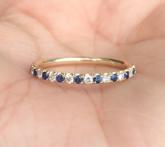 Mix Sapphire Gemstones Pave Eternity Band Ring In 14K Yellow Gold Handmade Jewelry Gift