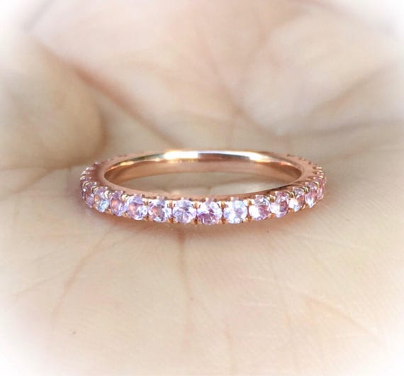 14K White Gold Pink Sapphire Full Eternity Ring 1.6mm Blushing Bride Pave Eternity Band 14K Pink Sapphire Matching Eternity Ring Birthstone