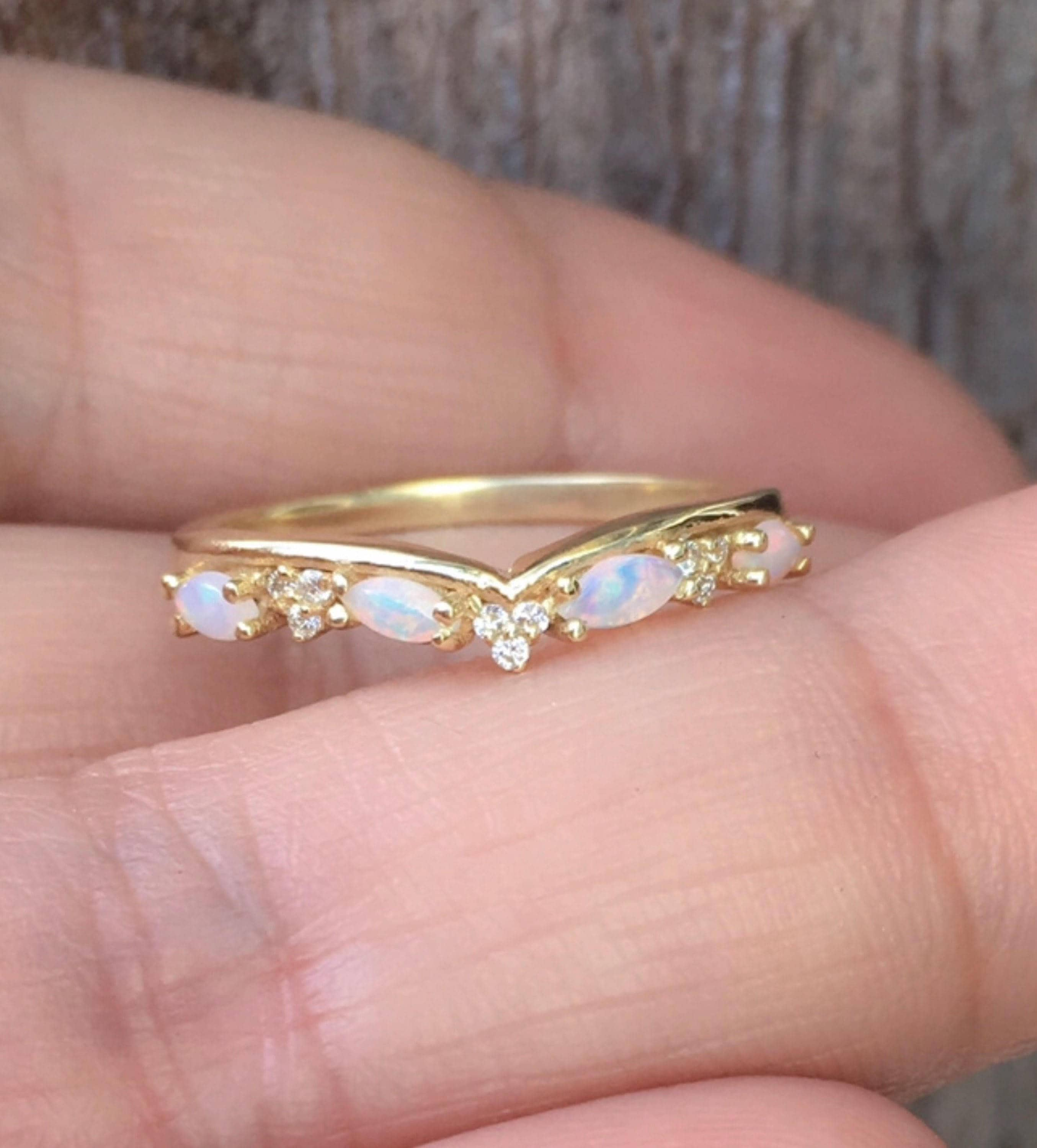 Opal Shadow Band Curved Diamond Contour Tracer Eternity Band Opal ...