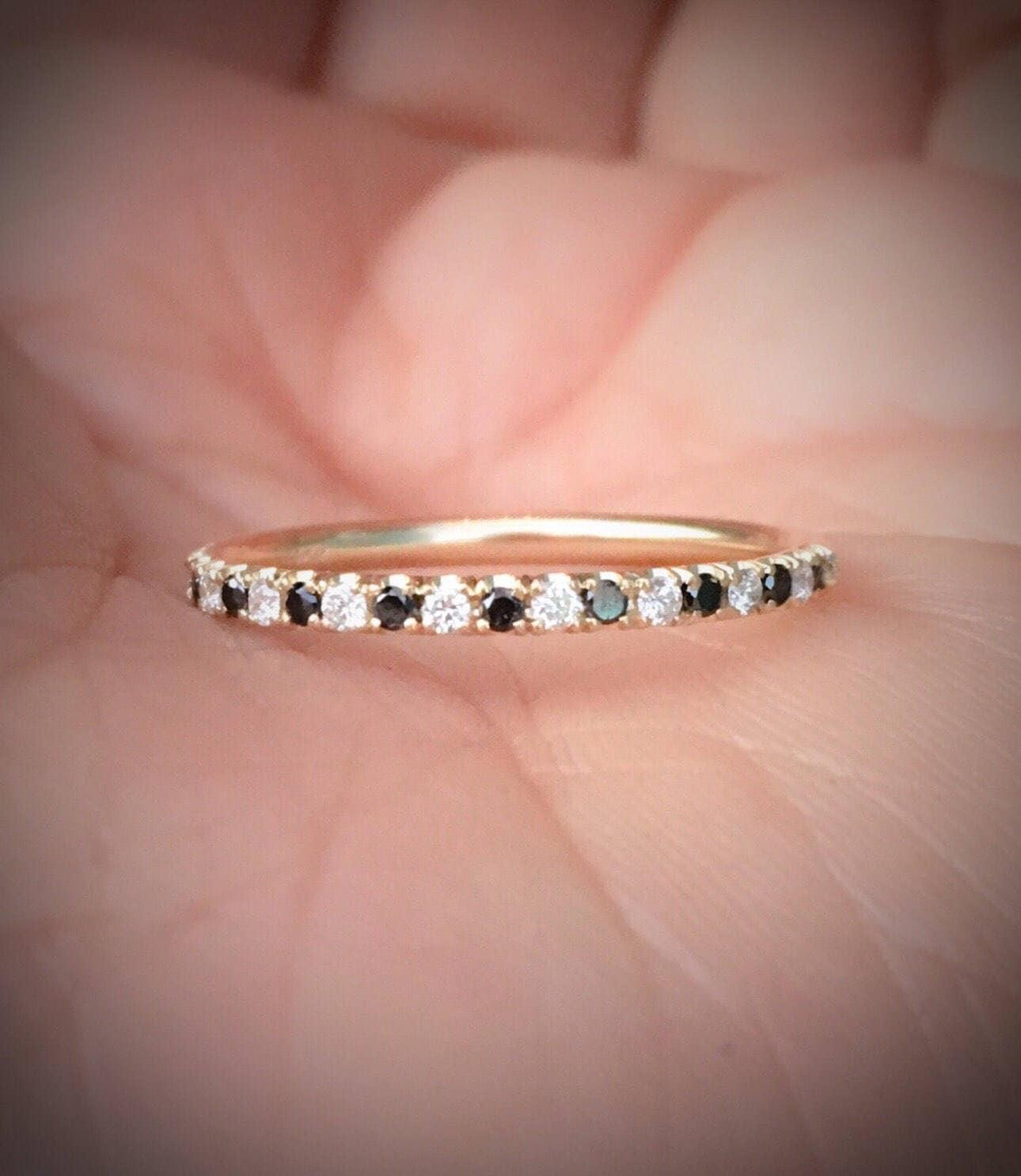 Black and White Diamond Ring Pave Diamond Alternating Half | Etsy