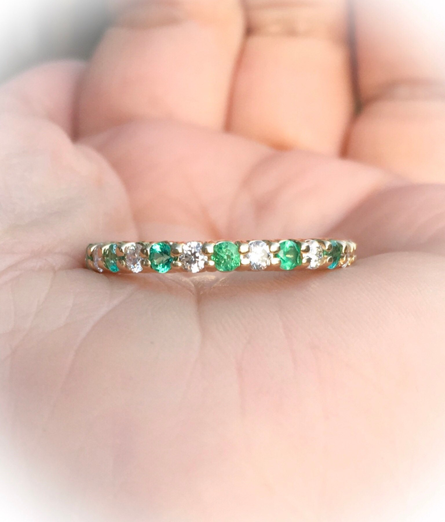 Diamond and Emerald Ring Full Eternity Band 2mm Emerald Diamond ...