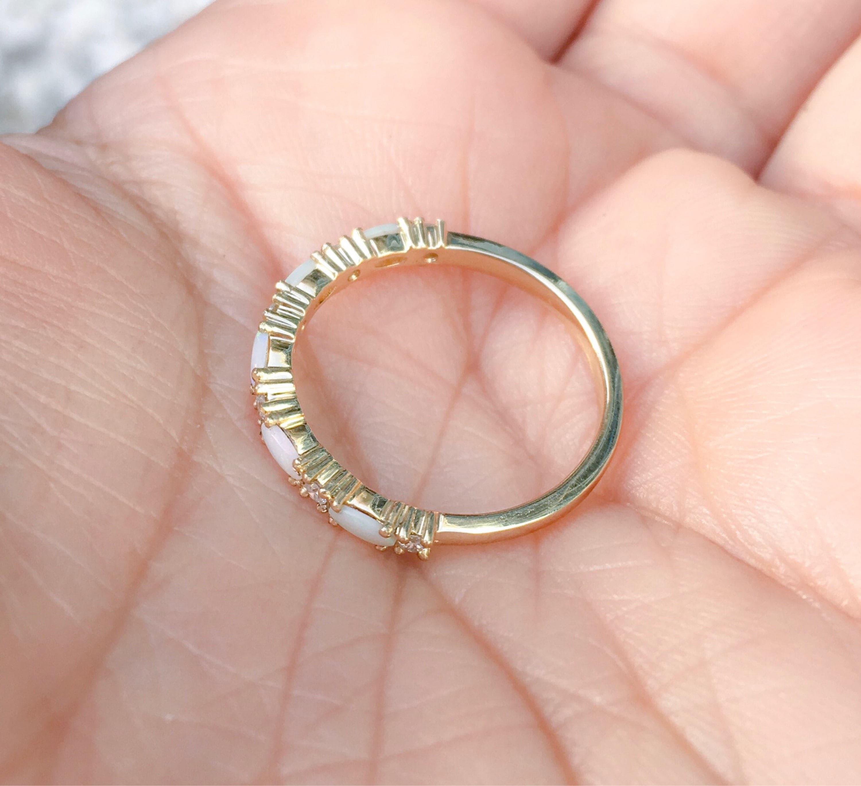Opal Diamond Band Wedding Opal Eternity Matching Ring Pave Opal ...