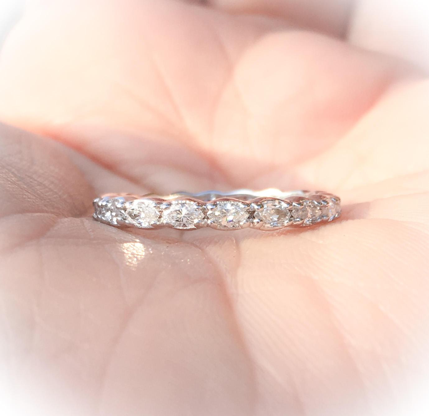 Marquise Diamond Band 14K Full Eternity Diamond Band 2.5mm Scalloped ...