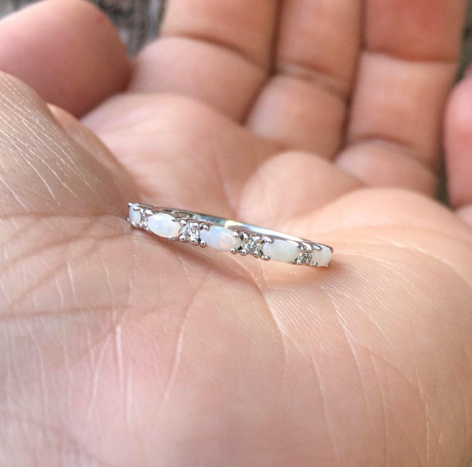 Opal Ring Simple Diamond Opal Wedding Band Matching Opal Ring   Etsy