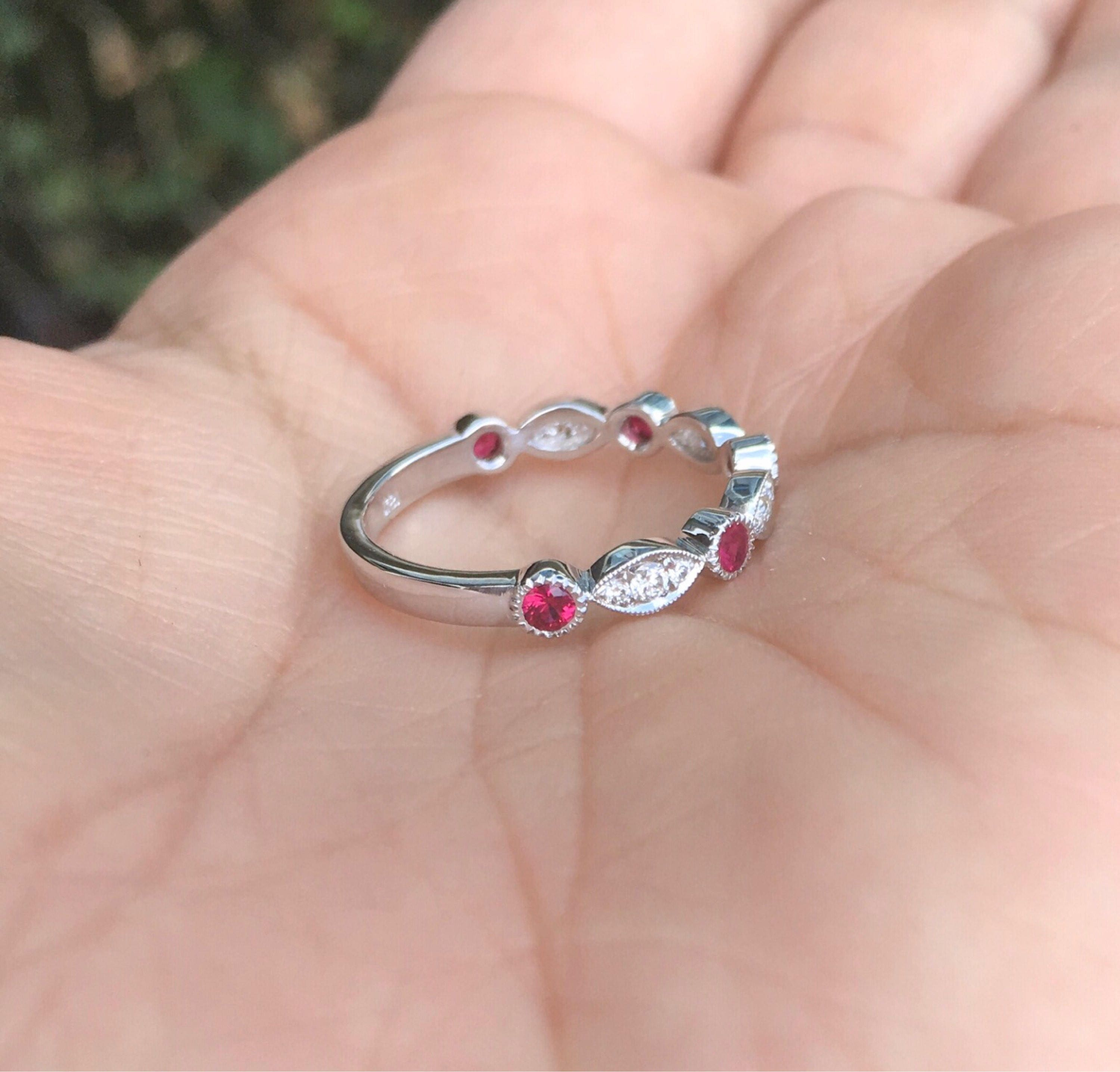 Marquise Dot Diamond Band 14K Diamond Ruby Milgrain Matching Band ...