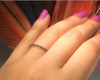 18K Garnet Full Eternity Band 1.7mm 18K Pave Infinity Ring 18K Garnet Matching Eternity Band Birthstone Stacking Ring 18K Dainty Garnet Ring