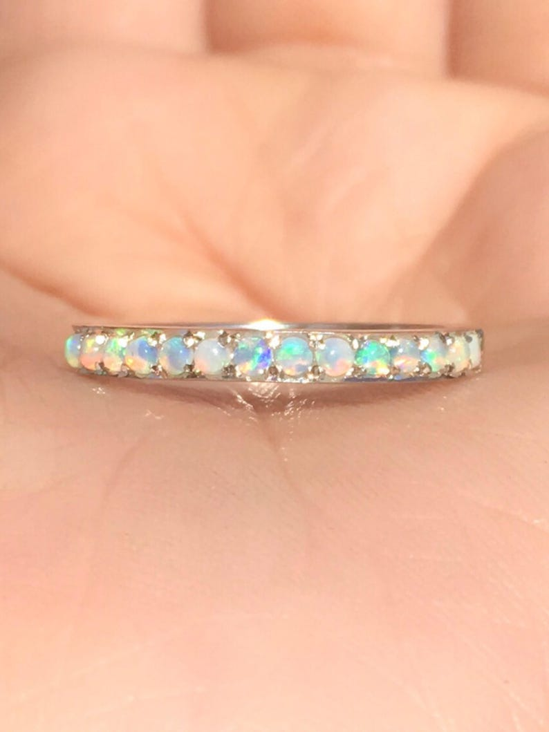 Opal Eternity Band Opal Ring Half Eternity Fire Opal Pave image 1