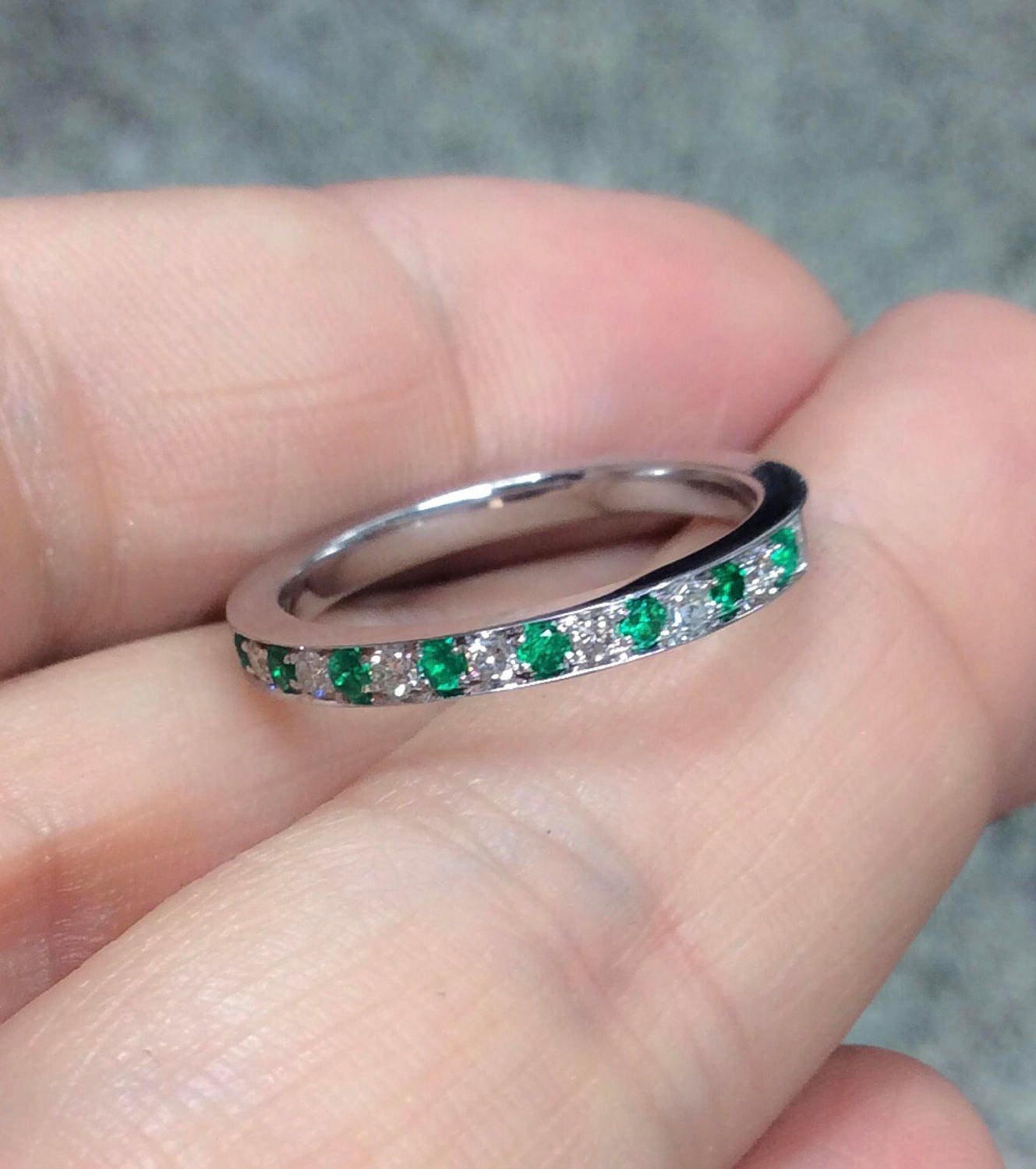 Alternating Emerald Diamond Ring Half Eternity Band Pave Alternating ...