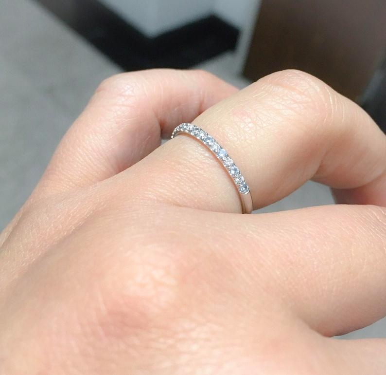 Diamond and Aquamarine Half Eternity Band 14K White Gold Alternating Aquamarine Diamond Pave Eternity Ring 1.6mm Matching Band Birthstone