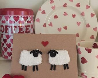 Knitted Sheep Valentine Heart Engagement Wedding Anniversary Card