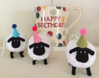 Sheep - hand knitted Decorations Door Hanger in Party Hat