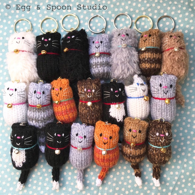 Cat  Fat Cat Hand Knitted Keyring Keychain Keyfob Cat image 0