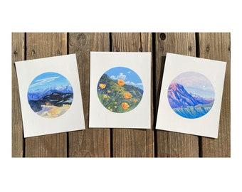 3 Print set of Kings Canyon National Park Paintings