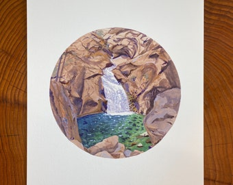 Print of a painting of Roaring River