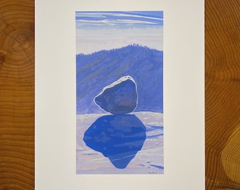 Archival Print of a boulder in Kings Canyon