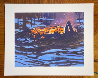 Archival print of a Slash Pile in fire