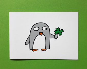 Good Luck Card - Funny Penguin - exam - driving test - new job - interview - new home - travelling - university - college - blank inside