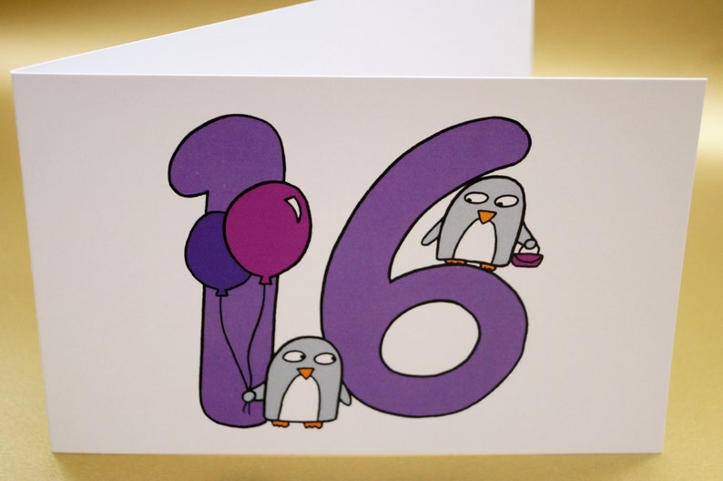 16th Birthday Card Funny Penguins Cute Sweet Sixteen