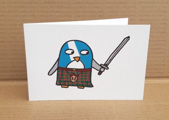 Pingouin rigolo carte cossais cossais danniversaire etsy - Pingouin rigolo ...