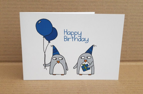 Funny Penguin Birthday Card Quirky Card Card For Him Blue Etsy