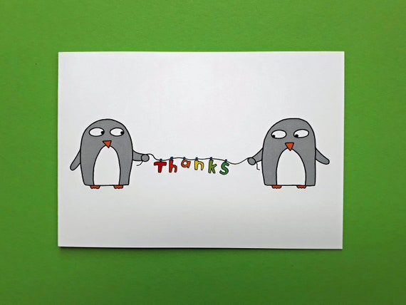 cute funny Penguin thank you cards Scottish Wedding thank you cards quirky