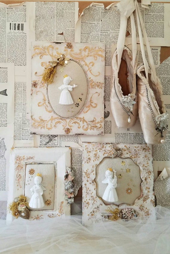 Set Of 3 Angel Wall Art Angel Figurine Wall Decor Wall Hangin Etsy