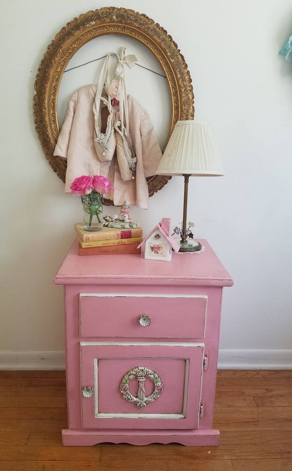 super popular 9376f ce66d PINK Nightstand Side Table Kid's Room Shabby Chic Bed Room Furniture Home  Decor