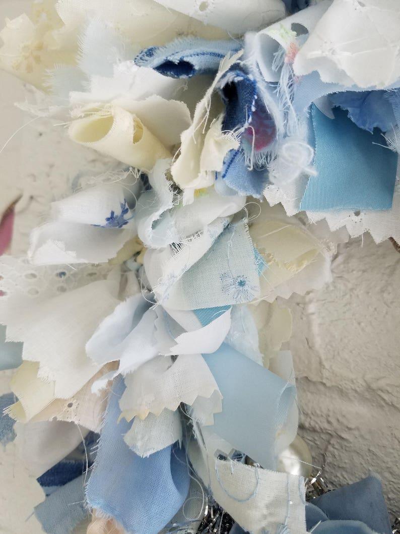 BLUE /& WHITE Rag Wreath Fabric Wreath Wall Decor Nursery Wall Decor Hand Made Home Decor