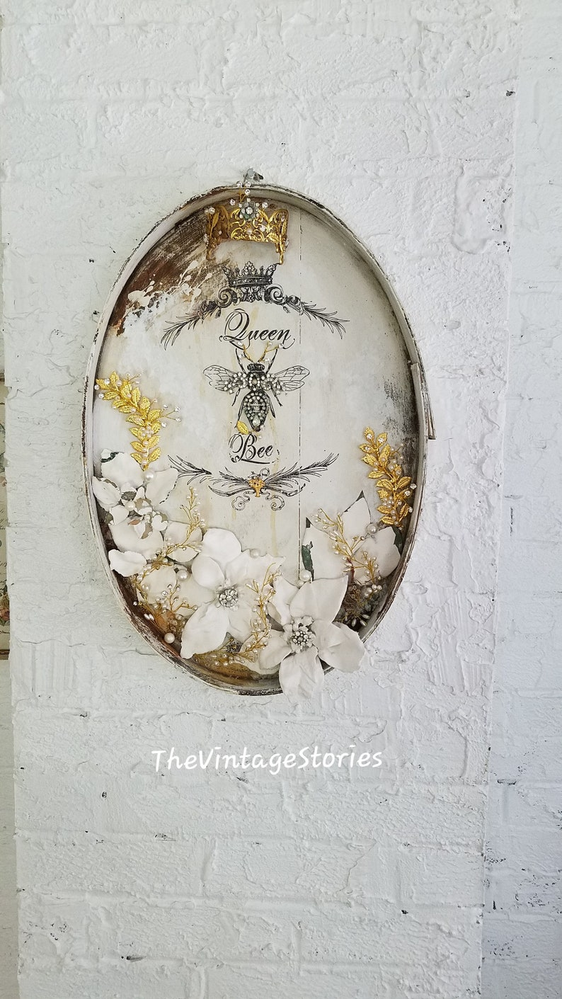 French Bee Crown Wall Art Wall Decor French Country Decor Wall Hanging Wall Plaque Flowers Sculpture Distressed Hand Painted Home Decor