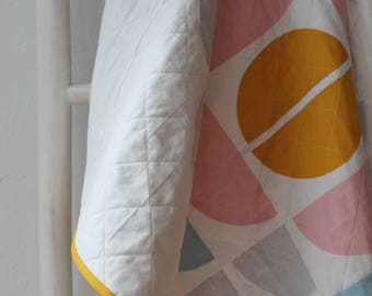 Modern baby quilt -- Scandinavian design in warm pastel colors