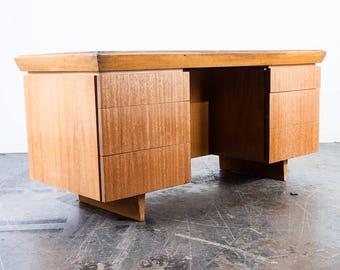 Mid Century Modern Desk Executive Office Paul Laszlo For Brown Saltman  Bleached Mahogany Vintage Mcm Danish Sweden Tan Large Shelf Restored