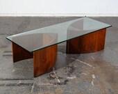 Mid Century Modern Coffee Table Glass Walnut Lane Vladimir Kagan Adrian Pearsall Organic Vintage