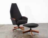 Mid Century Modern Lounge Chair Set Adrian Pearsall Craft Associates 2174C Black Arm Recliner Herman Miller Vintage