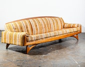 Mid Century Modern Gondola Sofa Couch Kroehler American Leisure Adrian Pearsall Vintage Large Yellow White Craft Associates
