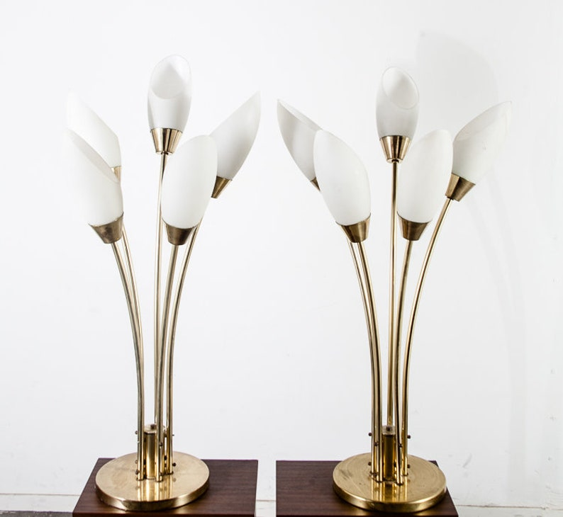 5855ccd2f4c59 Mid Century Modern Table Lamp Set Pair Brass Frosted Glass